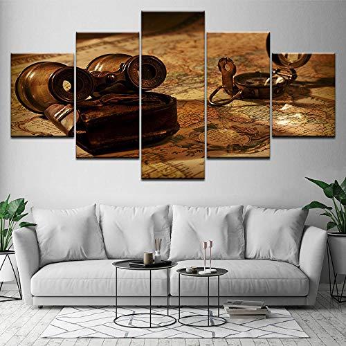 IGZAKER oude telescoop en kaart 5 stuk HD Wallpapers Art Canvas Print moderne poster kunst schilderij voor woonkamer Home Decor-30x40 30x60 30x80cm geen frame