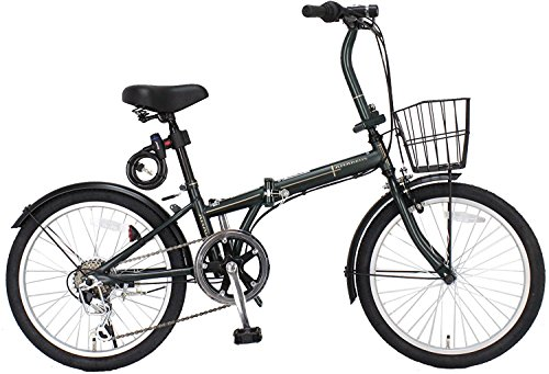 ジェフリーズ 自転車 折りたたみ自転車 20インチ AMADEUS マットグリーン シマノ6段変速 前後泥除け/カゴ/LEDライト/ワイヤーロック標準装備 中