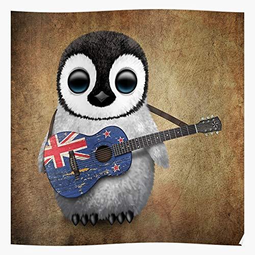 Ocean New Zealand Baby Penguin Guitar Playing Kiwi Acoustic Impressionanti Poster per la Decorazione della Stanza Stampati con L'Ultima Tecnologia Moderna su Carta semilucida