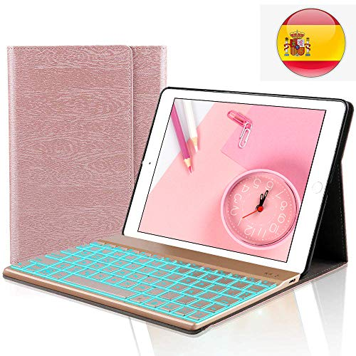iPad 9.7 Español Teclado Funda,Dingrich Bluetooth inalámbrico QWERTY Teclado Case Pare iPad 9.7 2018/2017 iPad Air 2/1 iPad Pro 9.7
