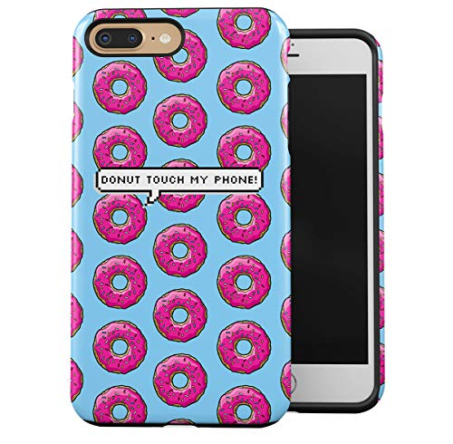 Case Cover Compatible with Apple iPhone 7 Plus/iPhone 8 Plus Silicone Inner & Outer Hard PC Shell 2 Piece Hybrid Armor Donut Touch My Phone Pixel Bubble Donuts Pattern