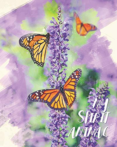 My Spirit Animal: Butterflies & Lavender Watercolor - Lined Notebook, Diary, Track, Log & Journal - Cute Gift for Girls, Teens, Women Who Love Butterfly (8x10 120 Pages)