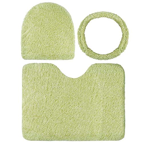 Toiletbril Toilet Seat Mat 3 stks Set Solid Coloration Warmer Mat Toilet Seat Cover Tweekleurig Fluweelachtig Toilet Seat Kit Voor Badkamer, Toilet Seat Covers wc-stoelen Zwart