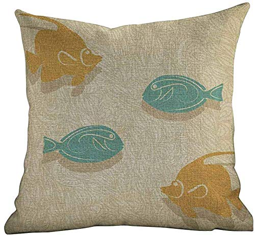 DKISEE Modern Pillowcase vis en wave, aquarium Marine Ocean thema's Vintage Stylized, Oranje zand Brown Seafoam, Customize Decoratieve Pillow Case Home Decor