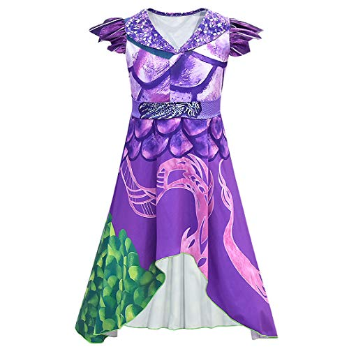 Disfraz de Dragon Mal Dress para niñas Adultas, Disfraz de Halloween Cosplay Descendientes 3 Vestido