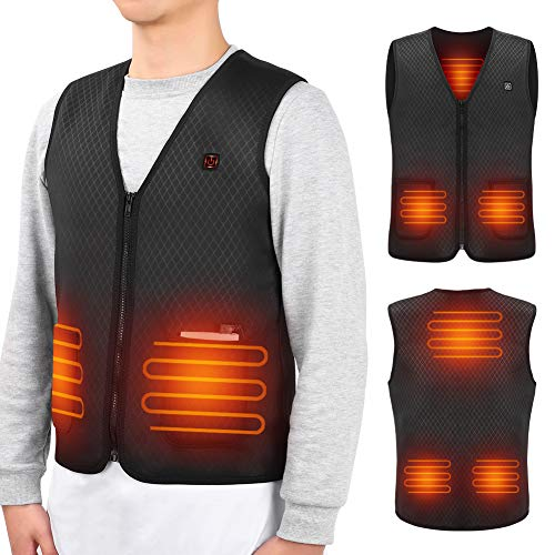 Heated Vest, USB Heating Jacket Body Warmer Heating Cloth With 5 PCS Built-in Heating Therapy Pad And Providing Magnetic Therapy in Cold Winter Outdoor Activities Hunting Camping Hiking Skiing