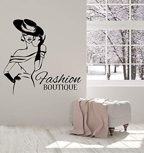 Vinyl Muursticker Mode Boutique Hoed Shop Elegante Dame Sticker 43x42cm