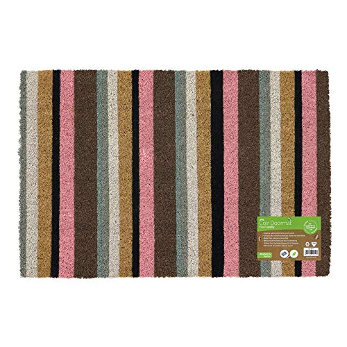 JVL Eco-Friendly Colour Patroon Latex Backed Coir Entrance Deurmat, Roze Streep Design, Bruin, ONE SIZE