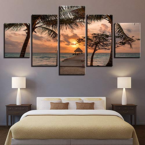Canvas schilderij decoratie, Kunstdruk Modulaire Houten Brug Olieverfschilderij Poster Wall 5 Panel Sunset Picture for Home Decoration Zee Kinderkamer Decor van het Huis