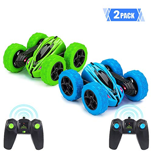 Twister.CK 2Pack RC Stunt Car with Remote Control, 2.4 GHz RC Racing Trucks Off Road, 4WD Double Sided 360¡ã Spins & Flips RC Crawler Outdoor Toys for Kids, Blue + Green