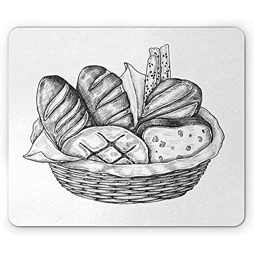 Charcoal Grey Mouse Pad, Digitaal Gegenereerd Potlood Getekend Illustratie van Verschillende Brood Types, Antislip Rubber Mousepad