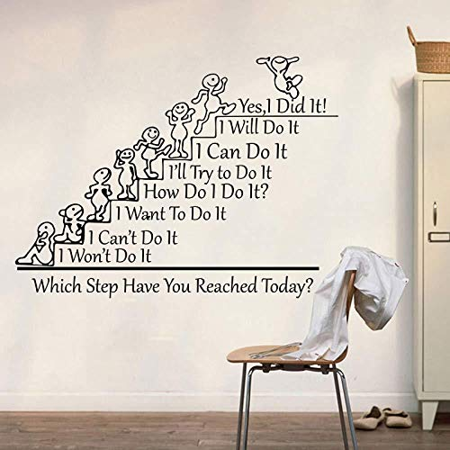 Muursticker,Vinyl Inspirational Quotes Home Decor Large Office Classroom Welke stap ben jij voor muurstickers42X56CM