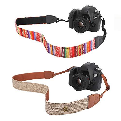 MoKo Camera Strap [2 Pack], Cotton Canvas Braided Adjustable Universal Sling Shoulder Neck Belt for All DSLR Digital Camera Canon, Fuji, Nikon, Olympus, Panasonic, Pentax, Sony - Bohemia Red + Khaki
