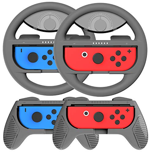COODIO Volante y Grip Switch Joy-Con, Switch Joy-Con Racing Wheel Volante, Mandos Grip Joy-Con para Mario Kart Juegos / Joy-Con Mandos Nintendo Switch, Gris (Pack de 4 Deluxe)