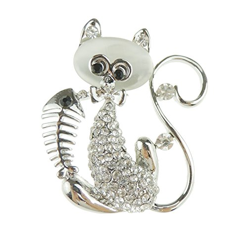 Glamour Girlz super schattig diamante kristal steen zitten Kitty kat & vis botten revers brooch zilver toon