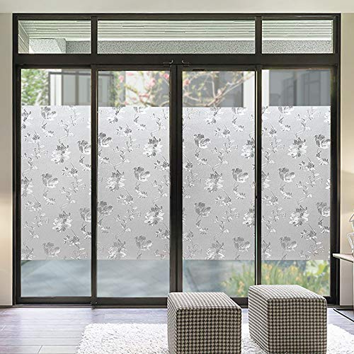 YSHUO raamsticker zeer privacy No-Glue Frosted Window Cover film statische Cling glas waterdichte folie Hibiscus badkamer