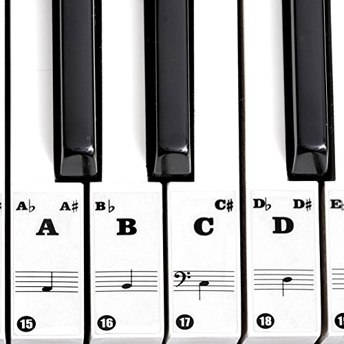 Piano Stickers, Transparant High-adhesive Verwijderbare Piano Toetsenbord Stickers Notities Etiketten voor 61/88 Key Elektronische Pianos Kids Beginner(Zwart)