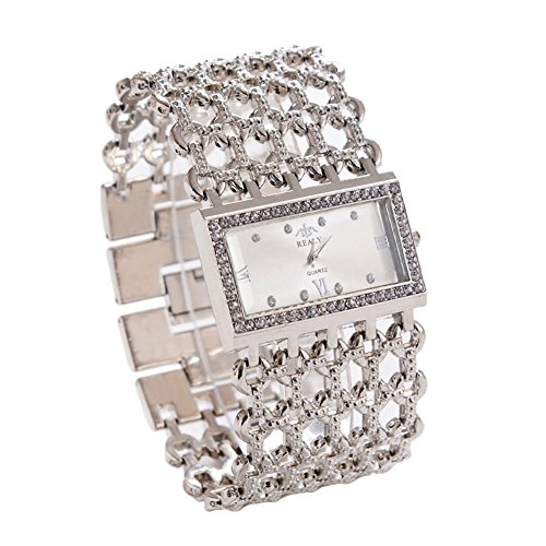 XuBa Dames Quartz Diamond Case Legering Armband Vierkant Horloge met Super Dunne Holle Band Zilver