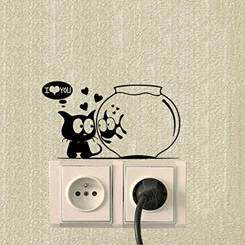 3D Wall Stickers Kat En Vissen Aquarium Funny Animals Schakel Stickers Vinyl Decor Muursticker