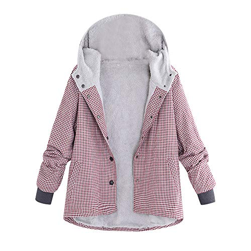 Winterjack dames plaid wintermantel katoenen mantel grote maten fleece jas Fluffy Shaggy Parka Lapel Trenchcoat Vintage fleece mantel met capuchon