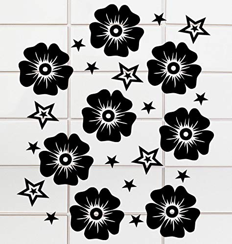 HR-WERBEDESIGN 40 badkamer tegelstickers raam wc bad toiletdeksel sticker hibiscu