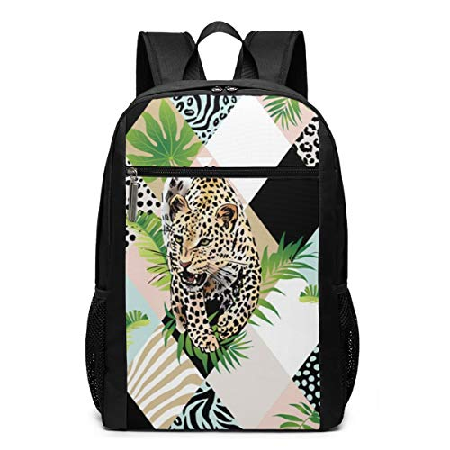 Tropical Palm Leaves And Leopard Background Casual rugzak mode voor computer hoge kwaliteit grote capaciteit reistas multifunctionele unisex 17 inch