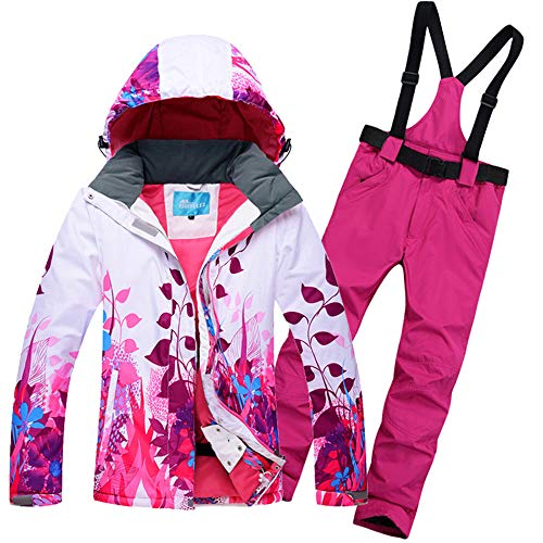 Vrouwen Ski Suit Snowboard Kleding Broek Winddicht Waterdicht Draag Vrouwelijke Jas Broek Hooded Flower Thicken Thermal Outdoor Sport Wear Ski Kleding