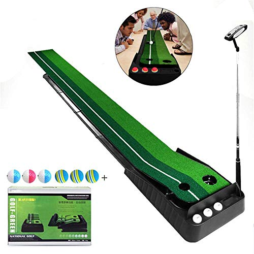 3 meter golf putting mat, Indoor Putter Trainer Set, Bevat 6 Ballen en Putten, Met Auto Ball Return Functie, Game Gift