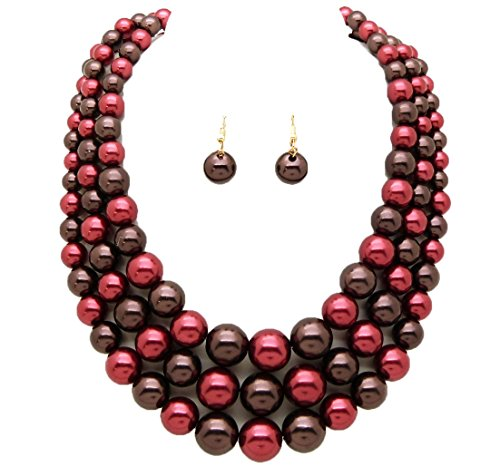 Women's Simulated Faux Three Multi-Strand Pearl Statement Necklace and Earrings Set (Burgundy + Brown)