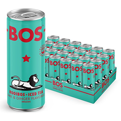 BOS Organic Iced Tea | Naturally Caffeine Free | Made with Rooibos from South Africa | Five Delicious Flavors | 24 Pack (12oz) (Lime & Ginger)