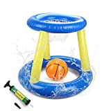 SubClap Floating Pool Basketball Hoop -Pool Toys for Kids Inflatable Blow Up Ball Summer Swimming Water Sports Game Toy with Hand Pump for Children & Adult (Yellow Basketball)