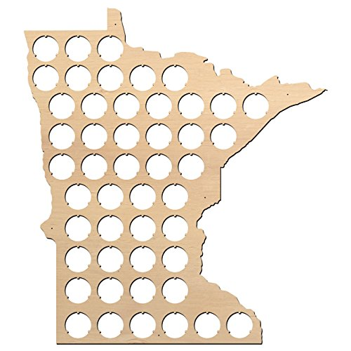 All States Beer Cap Map Minnesota - 13x15 inches - 48 caps - Minnesota Beer Cap Holder - Birch Plywood