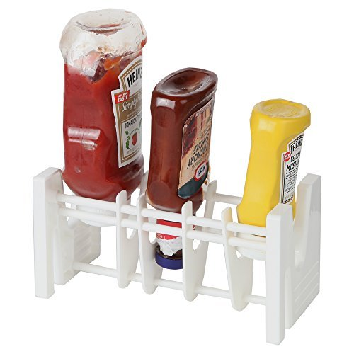 Home-X Upside Down Condiment Bottle Holder Rack, The Perfect Kitchen Top Organizer that Prevents Waste and Uses Every Last Drop of Your Favorite Condiments