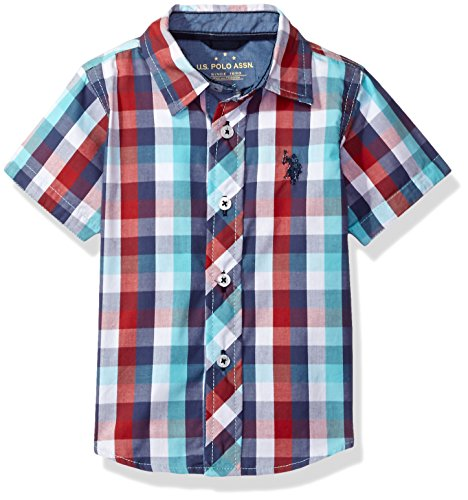 U.S. Polo Assn. Boys' Big Cotton Plaid Short Sleeve Woven Sport Shirt, Nantucket Red, 14/16