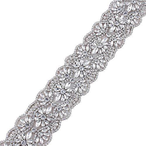 FANGZHIDI 1Yard Crystal Rhinestone Trim Applique Belt for Bridal Sash and Wedding Dress-Hot Fix or Sew on-1Yard(36