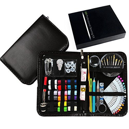 New Design Professional Sewing Supplies Kit With Leather Case by Back2Basics – Complete Set w/ Scissors, Threader, Thimble & More for All Of Your Sewing & Emergency Needs (Black)