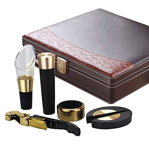 YIMI Classical style Corkscrew Opener Barware Gear Corkscrew Wine Bottle Opener Wine Hippocampus Bottle Opener Five Sets With Locked Leather gift box YMP-5A (Brown)