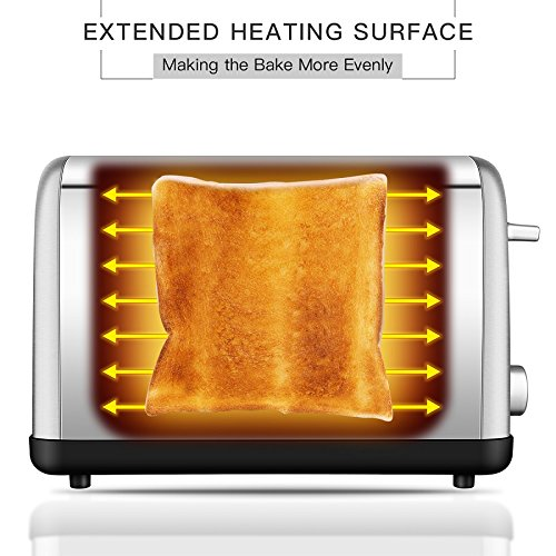 ToBox TB-ST012 2 Slice Extra Wide Slot 7 Brown Settings and Removable Crumb Tray, Stainless Steel Toasters for All Types of Breads, Silver