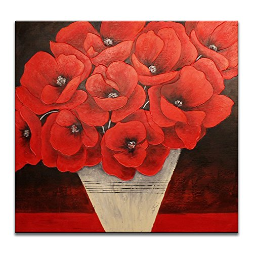 IARTS Canvas Wall Art 100% Handmade Contemporary Poppy Flowers Oil Paintings for All Styles of Home Decoration, 36 Inches Large Pre Stretched with Frame