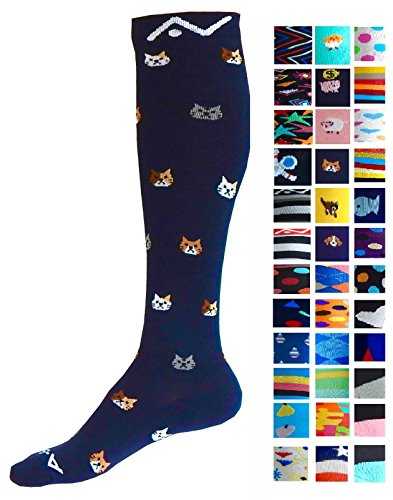 Compression Socks (1 pair) for Women & Men by A-Swift (Kitty, L/XL)