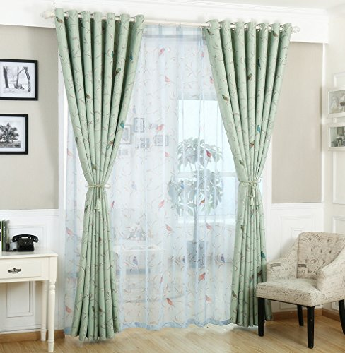 Embroidery Rod Pocket Sheer Curtains 63 Inch Long for Sliding Glass Door with Lace Wave Edge European Jacquard Vintage Floral Voile Drapes Living Room Tulle Window Treatments 1 Panel W52 x L63 inch