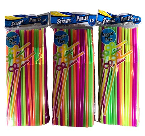 """240 10"""" Neon Straws with Longer Flexible Bend - Plastic Disposable"""