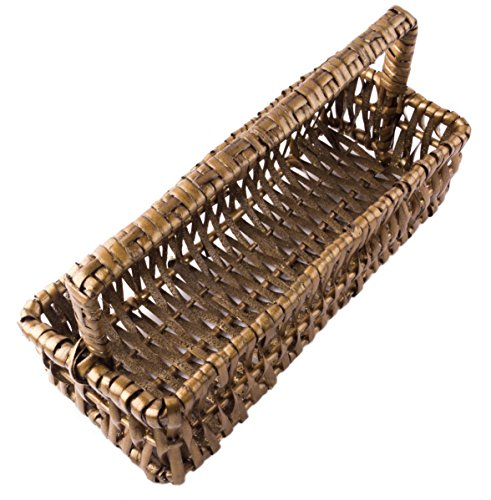 Rectangular Willow Catch-All Tray Basket with Handle in Dark Glittering Oak - 10 Inches