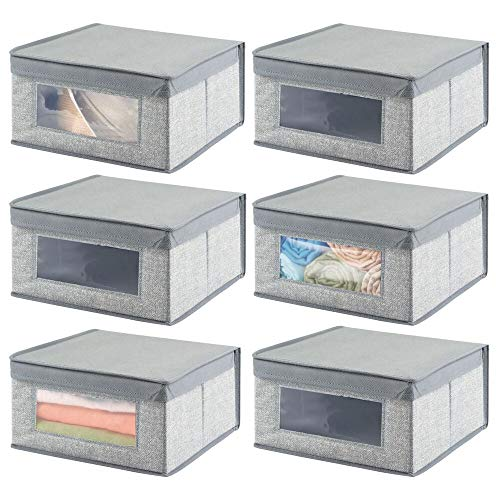 mDesign Soft Stackable Fabric Closet Storage Organizer Holder Bin with Clear Window, Attached Hinged Lid - for Bedroom, Hallway, Entryway, Bathroom - Textured Print - Medium, 6 Pack - Gray