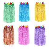 Newcreativetop 24' Adult's Flowered Luau Hula Skirts Pack of 6,Assorted Colors