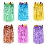 Newcreativetop 24' Adult's Flowered Luau Hula Skirts Pack of 6,Assorted Colors