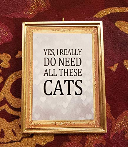 Yes, I Really Do Need All These Cats Crazy Cat Lady Cat Mom * Dollhouse Miniature - Without a Bail