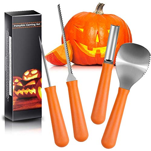 Comfy Mate Kit-Professional Heavy Duty Stainless Steel Set Includes 5 Tools, Used As a Carving Knife for Pumpkin Halloween Decoration