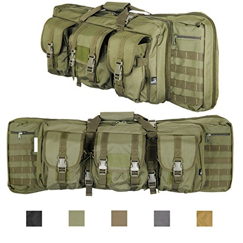 Lancer Tactical 600 Denier Polyester Double Carbine Soft Case Accessory Pouches MOLLE Webbing Secondary Gun Compartment Quick Detach Buckles Inner Storage Backpack Straps (36