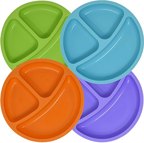 Set of 4 Divided Toddler Plates Set for Baby Plate, Kids, Children, BPA Free Silicone for Feeding by Salbree (7.5